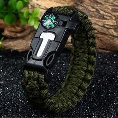 Fashion Survival Bracelet with Flint Fire Starter Whistle and Rescue Rope