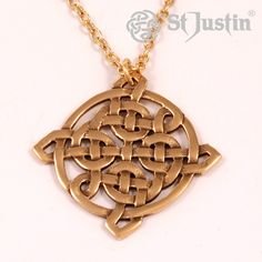 Interlacing Square Knot Pendant. Bronze openwork Celtic knot on gold-plated trace chain. Product code: BZP82. Price: £22.29 (exc. VAT). Available: www.stjustin.co.uk - All products are handcrafted in the United Kingdom.