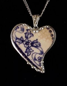 Broken china jewelry heart pendant necklace flow blue by Laura Beth Love Dishfunctional Designs