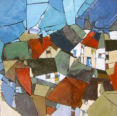 Hommage à Egon Schiele. Pâte de verre Albertini - 340 x 340 mm sur support béton..Michelle Combeau..very pretty