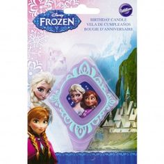 Disney Frozen Elsa and Anna candle.Finish your Frozen birthday cake with this beautiful Frozen birthday candle.Frozen candle is a soft purple colour with a turquoise border and features a pretty picture of Princess Elsa and Anna.Disney Frozen candle measures 8cm x 6cm.