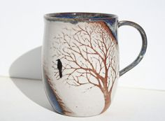 Made to Order Misty Blue Raven Tree Mug by TheMuddyRaven on Etsy, $35.00