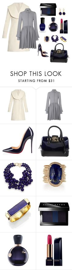 """Gray Effect"" by eudoxiee ❤ liked on Polyvore featuring J.W. Anderson, Christian Louboutin, Furla, Kenneth Jay Lane, Jacquie Aiche, Aesa, Dean Harris, Bobbi Brown Cosmetics, Lacoste and Lancôme"