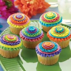 Bold color ribbons make these Cinco De Mayo Cupcakes the life of the party. Fiesta Cake, Mexican Fiesta Party, Fiesta Theme Party, Party Themes, Mexican Cupcakes, Mexican Desserts, First Birthday Parties, First Birthdays, 3rd Birthday
