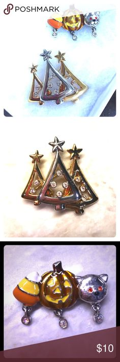 Holiday brooch collection 🎃🎄 Silver/gold trio of Christmas trees with rhinestones and Halloween cat/pumpkin/candy corn trio brooches. Gently worn, great condition. 🚭🏡✅🐶 Jewelry Brooches
