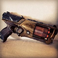Steampunk Gun, Nerf Strongarm, hand-painted by Avalyn