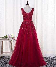 Deep red tulle V neck long A-line prom dress, formal dress #promdress