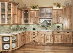 Are you looking for rustic kitchen design ideas to bring your kitchen to life? I have here great rustic kitchen design ideas to spark your creative juice. Hickory Kitchen Cabinets, Kitchen Cabinets Decor, Kitchen Cabinet Design, Rustic Wood Cabinets, Bathroom Counter Cabinet, Natural Hickory Cabinets, Knotty Pine Cabinets, Clean Cabinets, Knotty Pine Kitchen