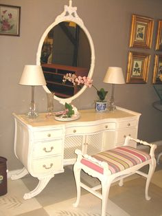 """Mahogany Vanity with mirror and bench upholstered in Annie Sloan fabric, """"Gigi Ticking""""; painted with  Chalk Paint® in Old White"""