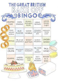 The Great British Bake Off Bingo Card (or Drinking Game! British Bake Off Recipes, Great British Bake Off, Mel And Sue, British Baking, Mary Berry, Drinking Games, Bingo Cards, Eat Cake, Cooking Recipes