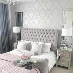 44 exquisitely admirable modern french bedroom ideas 9 ⋆ All About Home Decor Simple Bedroom Design, Luxury Bedroom Design, Master Bedroom Design, Home Decor Bedroom, Modern Bedroom, Interior Design, Silver Bedroom Decor, Pink And Silver Bedroom, Bedroom Ideas Grey