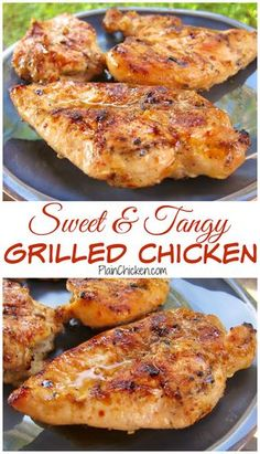 Sweet and Tangy Grilled Chicken Recipe - chicken marinated in cider vinegar, dijon mustard, garlic, lemon, lime and brown sugar. THE BEST! We make this at least twice a month. Great leftover on a salad or in a quesadilla.