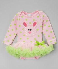 Another great find on #zulily! Pink & Lime Bunny Skirted Bodysuit - Infant #zulilyfinds
