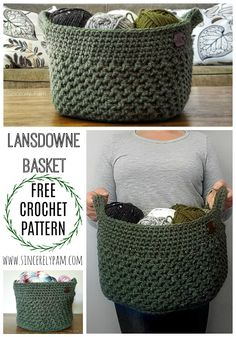 The Lansdowne Basket crochet pattern is free on the Sincerely, Pam blog. Great for all skill levels!
