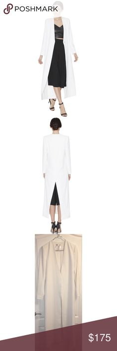 Alice + Olivia White Desmond Cross Back Long Coat Runway Sample Alice + Olivia Women's White Desmond Cross Back Long Coat There is nothing more flattering than a floor-grazing coat, period. This minimalist, all-white jacket with a deep v practically screams polished elegance. Button down. Cross back. Maxi length. Size Small Retail $550.00 The Coat Has Been Worn Once On The Runway And Dry Cleaned! A Few Minor Marks Are Photographed Please Review All Photos Prior To Purchase Sold AS IS! Inside…