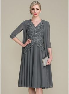 A-Line/Princess V-neck Knee-Length Beading Zipper Up Sleeves Short Sleeves Yes Steel Grey General Plus Height:5.7ft Bust:33in Waist:24in Hips:34in US 2 / UK 6 / EU 32 Mother of the Bride Dress, JJsHouse.com