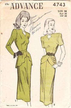 1940s peplum blouses patterns | Vintage 1940s sultry draped peplum dress pattern - Advance 4743