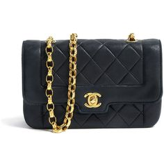 Vintage Heirloom Navy Gold Chain Single Flap Classic ($2,695) ❤ liked on Polyvore