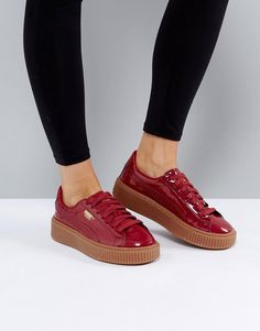 b2fda2201e37 Puma Patent Basket Platform Sneakers With Gum Sole In Burgundy