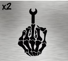 Two Mechanics Middle Finger Decals stickers vinyl tools Wrench Tattoo, Piston Tattoo, Tool Tattoo, Silhouette Cameo Freebies, Silhouette Cameo Projects, Skull Stencil, Tattoo Stencils, Skull Art, Mechanic Humor