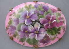 Antique Victorian Hand Painted Violet Flower Porcelain Brooch