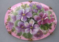Antique Victorian Hand Painted Violet Flower Porcelain Brooch