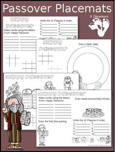 Free Passover Placemats -  4 different placemats for different levels of writing, drawing, and coloring - 3Dinosaurs.com
