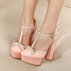 "Lovely Pink Platform Closed-toe Chunky Heels Women's Shoes - Lovely Pink Platform Closed-toe Chunky Heels Women's Shoes "" Lovely Pink Platform Closed-toe Ch - Chunky Heel Shoes, Chunky High Heels, High Heel Pumps, Pumps Heels, T Strap Shoes, Ankle Strap, Prom Shoes, Crazy Shoes, Beautiful Shoes"