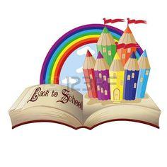 Retour � l'�cole livre magique et le ch�teau de l'�cole fabuleuse, illustration vectorielle