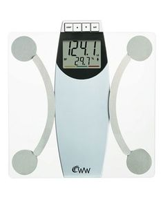 Weight Watchers WW67T Glass Scale, Body Analysis....weight, bone mass, body fat & BMI.  you can personalize it with your height, age, and gender for up to 10 users.  There are red, yellow, and green bars to indicate if your number is above, in the middle of, or below the target numbers/percentages
