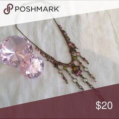 """Necklace gold tone with pink, clear & green stones Bundle 3 or more items and save 15%.  Beautiful """"1928"""" necklace 1928 Jewelry Necklaces"""