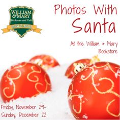 Photos with Santa at WM Bookstore Nov. 29 - Dec. 22 - WilliamsburgFamilies.com