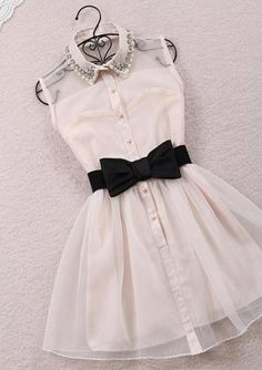 dress bow pearls glitter transparent blouse black white cute short white collar buttons beading cool girl style black ribbon inlove armless ...