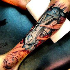 amazing bio mechanical #tattoo