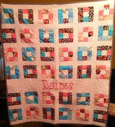 Personalized Ninepatch Baby Quilt
