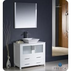 Gallery One Torino Inch White Modern Bathroom Vanity With Vessel Sink Home Depot