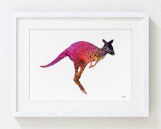 Red Kangaroo Art Watercolor Painting - 5x7 Archival Print - Minimalist Art Print, Animal, Silhouette Art - Home & Living Decor - Wall Art