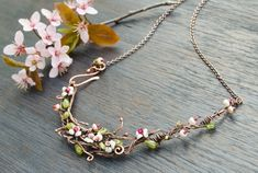 Blooming twig necklace Romantic jewelry Spring Floral by IrenAdler