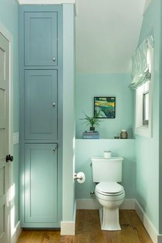 A partial wall creates a water closet on one side and a storage area on the other, while a small shelf behind the toilet holds bath accessories.