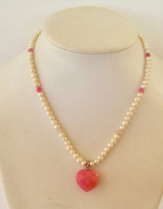 Freshwater pearls pink jade heart necklace by CarlaDiVolpe on Etsy