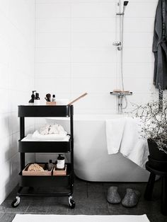 ikea raskog as bathroom storage - can be moved around the room if space is v small Interior, Home, Diy Bathroom Decor, House Interior, Bathroom Interior, Ikea Raskog, Ikea Bathroom, Bathrooms Remodel, Bathroom Decor