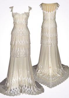Claire Pettibone Kristene Wedding Dress -- Art Deco Gold, Black & Ivory {The Great Gatsby-inspired} Wedding theme Claire Pettibone, Wedding Designs, Wedding Styles, Wedding Ideas, Dress Couture, Couture Bridal, Art Deco Wedding Inspiration, Bridal Gowns, Wedding Gowns
