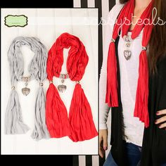 Pendant Scarves only $7.99 in two great colors!