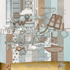 """Catch Of The Day by Designs by Marcie is a great kit for scrapping fishing photos of every kind! It has all the great fishing """"goodies"""" you will need for scrapping great fishing pages!  Available at Go Digital Scrapbooking"""