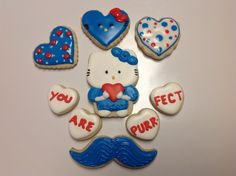 Hello Kitty Sugar Cookies, Hello Kitty Valentine Cookies, Decorated Sugar Cookies by I Am the Cookie Lady
