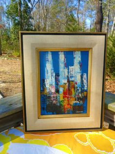 VTG MID Century Modern Citscape Skyline SANDERS Oil Painting Retro Wall Art