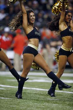 New Orleans Saints cheerleaders perform in the first half of an NFL football game against the Tampa Bay Buccaneers in New Orleans, Sunday, Sept. 20, 2015. (AP Photo/Jonathan Bachman)
