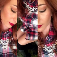 Alicia Ventimiglia  @aliciaisis77 Instagram Photos   Makeupartist #ootd #plaid #makeup