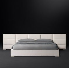 Rectangular Channel Extended Headboard Fabric Platform Bed