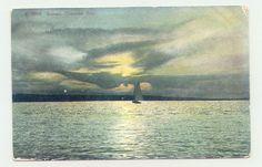 Traverse City, Michigan MI ~ Sunset on Traverse Bay  1915 ^